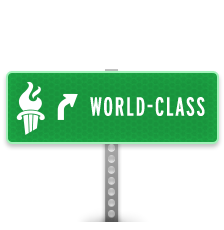 Sign with GCPS flame icon and World Class text